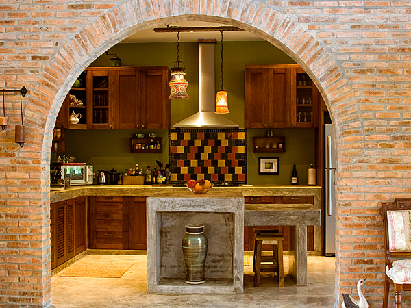 Custom Teak Kitchen Casa Naranja Wood Art Design