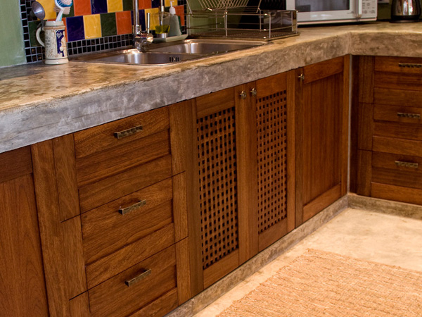 Custom Teak Kitchen Casa Naranja Wood Art Design